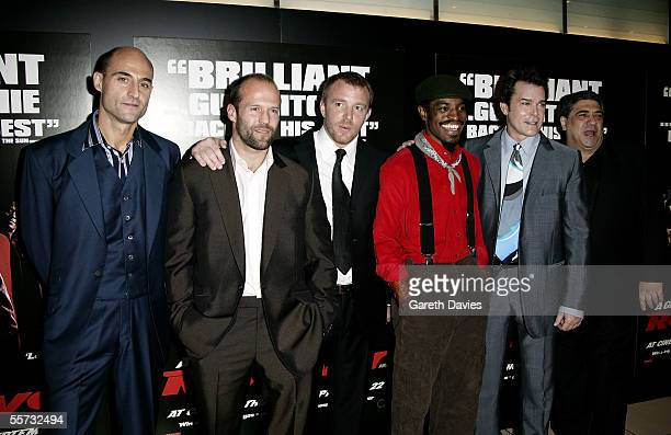 """Actors Mark Strong, Jason Statham, director Guy Ritchie, actors Andre """"Andre 3000"""" Benjamin, Ray Liotta and Vincent Pastore arrive at the UK Premiere..."""