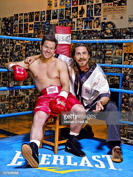 Actors Mark Wahlberg and Christian Bale during photo shoot at Church Street Boxing Gym photographed for Sports Illustrated in New York City New York...
