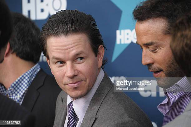 Actors Mark Wahlberg and Jeremy Piven attend the Entourage Season 8 premiere at the Beacon Theatre on July 19 2011 in New York City