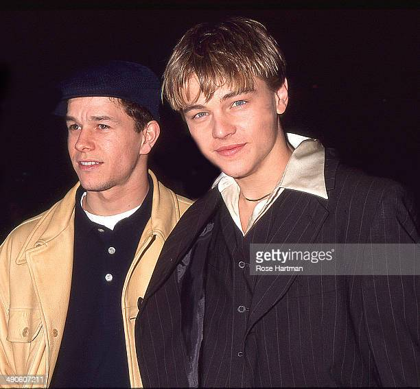 Actors Mark Wahlberg and Leonard DiCaprio attend the film premiere of Jim Carroll's 'The Basketball Diaries' New York New York 1995
