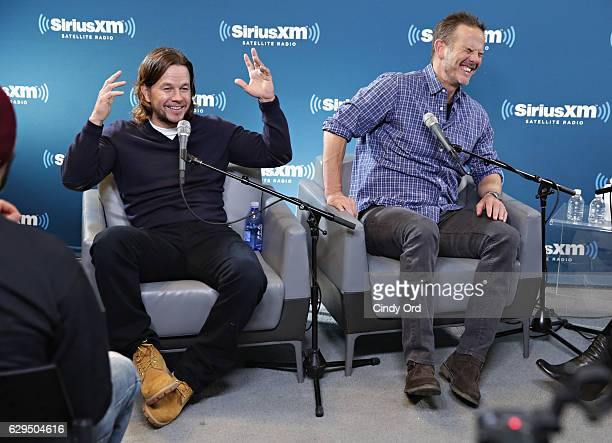 Actors Mark Wahlberg and Peter Berg take part in SiriusXM's Town Hall with Mark Wahlberg and Peter Berg hosted by SiriusXM's Entertainment Weekly...