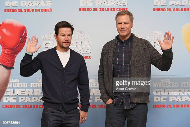 Actors Mark Wahlberg and Will Ferrell attend the 'Daddy's Home' press conference at St Regis Hotel on January 25 2016 in Mexico City Mexico