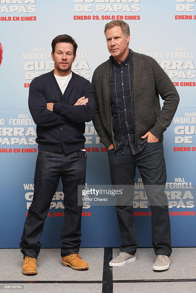 Actors Mark Wahlberg and Will Ferrell attend the 'Daddy's Home' press conference at St Regis Hotel on January 25, 2016 in Mexico City, Mexico.