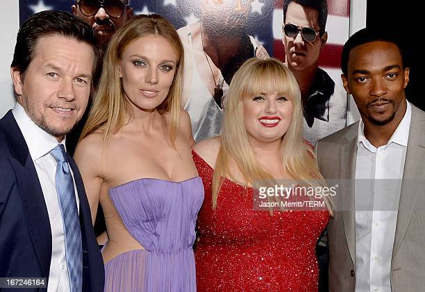 Actors Mark Wahlberg Bar Paly Rebel Wilson and Anthony Mackie arrive at the premiere of Paramount Pictures' 'Pain Gain' at TCL Chinese Theatre on...