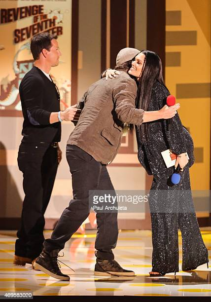 Actors Mark Wahlberg Channing Tatum and Singer Jessie J attend the 2015 MTV Movie Awards show at Nokia Theatre LA Live on April 12 2015 in Los...