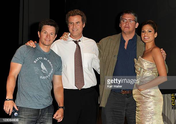 Actors Mark Wahlberg Will Ferrell Director Adam McKay and actress Eva Mendes pose onstage at Sony Pictures Entertainment 'The Other Guys' Panel at...