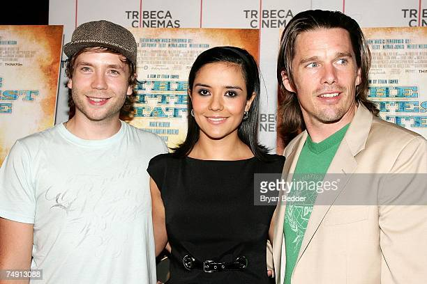 Actors Mark WebberCatalina Sandino Moreno and Ethan Hawke arrive at the screening of The Hottest State at the Tribeca Cinemas on June 25 2007 in New...