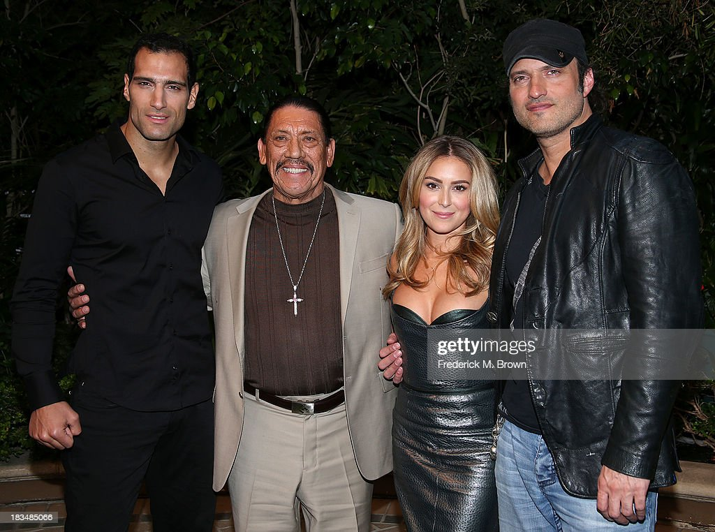 Actors Marko Zaror, Danny Trejo, and actress Alexa Vega and director Robert Rodriguez attend the Open Road Films' 'Machete Kills' Press Conference at the Four Seasons Hotel Los Angeles at Beverly Hills on October 6, 2013 in Beverly Hills, California.