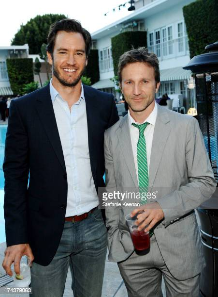 Actors MarkPaul Gosselaar and Breckin Meyer attend TNT 25TH Anniversary Party during Turner Broadcasting's 2013 TCA Summer Tour at The Beverly Hilton...