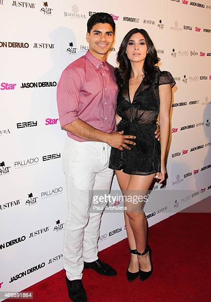 Actors Marlon Aquino and Camila Banus attend the listening party for Jason Derulo's Everything Is 4 at The Argyle on April 15 2015 in Hollywood...