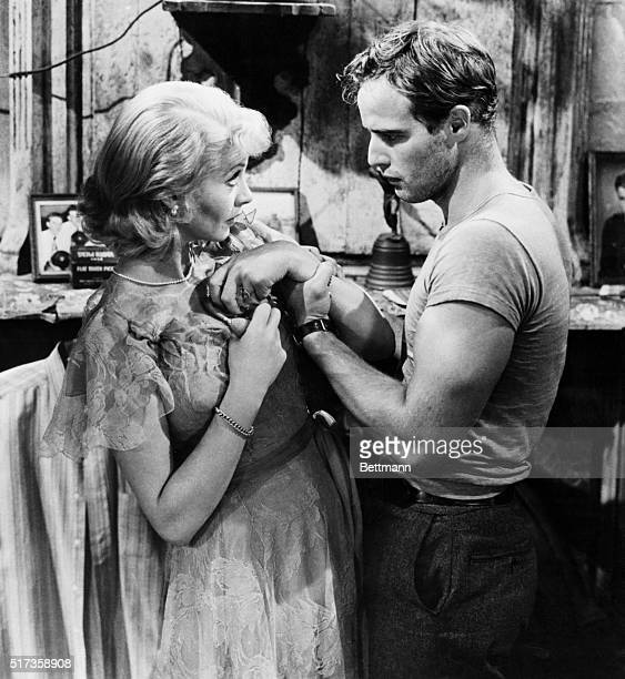 """Actors Marlon Brando and Vivien Leigh play Stanley Kowalski and Blanche Du Bois in the 1951 motion picture """"A Streetcar Named Desire."""""""