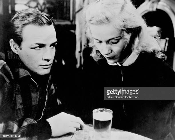 Actors Marlon Brando as Terry Malloy and Eva Marie Saint as Edie Doyle in the film 'On the Waterfront' 1954
