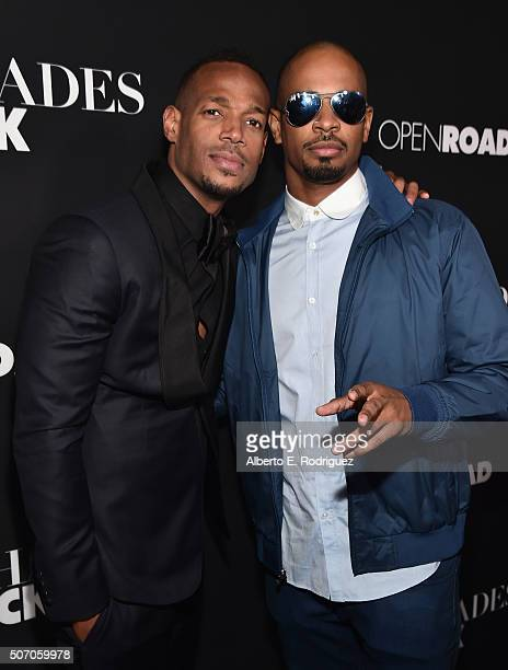 "Actors Marlon Wayans and Damon Wayans Jr. Attend the premiere of Open Road Films' ""Fifty Shades of Black"" at Regal Cinemas L.A. Live on January 26,..."