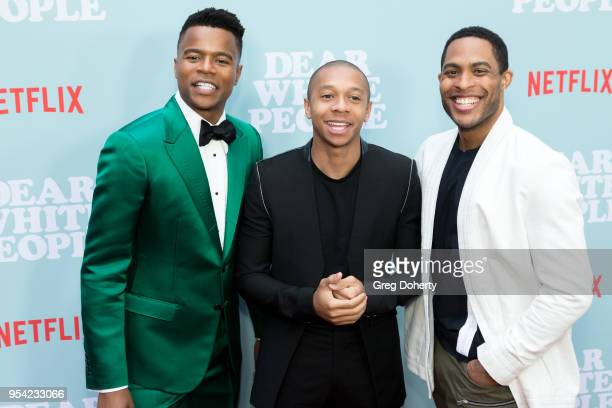 Actors Marque Richardson DeRon Horton and Brandon P Bell attend the Dear White People Season 2 Special Screening on May 2 2018 in Hollywood California