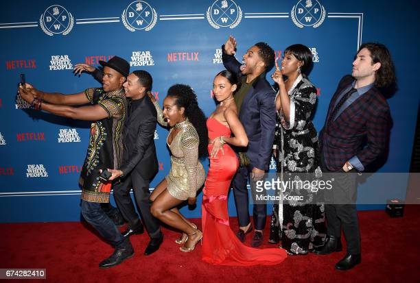 Actors Marque Richardson DeRon Horton Antoinette Robertson Logan Browning Brandon P Bell Ashley Blaine Featherson and John Patrick Amedori pose for a...