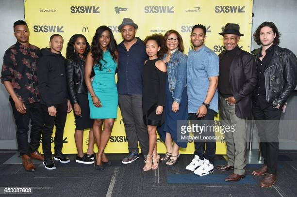 Actors Marque Richardson DeRon Horton Ashley Blaine Featherson and Antoinette Robertson Director Justin Simien actress Logan Browning Executive...