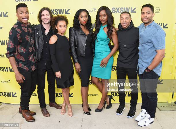 Actors Marque Richardson John Patrick Amedori Logan Browning Ashley Blaine Featherson Antoinette Robertson DeRon Horton Brandon P Bell attend the...