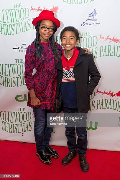 Actors Marsai Martin and Miles Brown arrive at the 85th Annual Hollywood Christmas Parade on November 27 2016 in Hollywood California