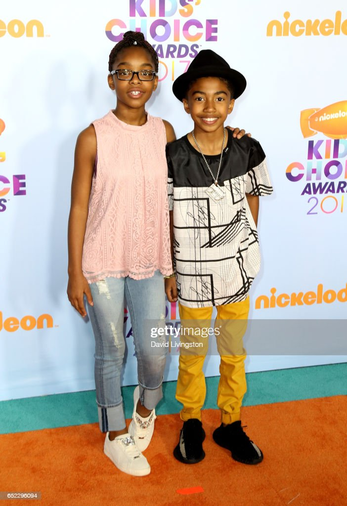 Actors Marsai Martin (L) and Miles Brown attend Nickelodeon's 2017 Kids' Choice Awards at USC Galen Center on March 11, 2017 in Los Angeles, California.