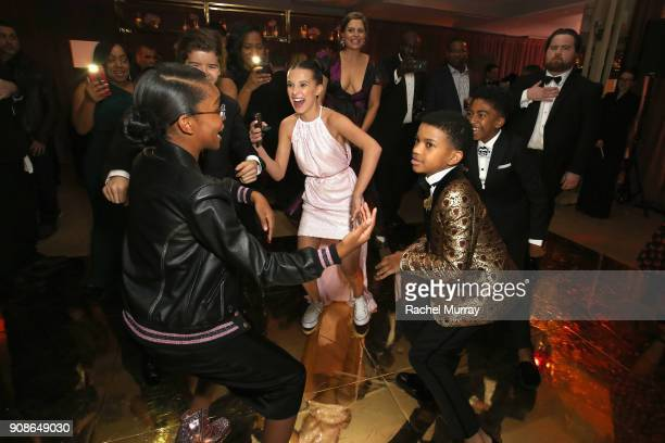 Actors Marsai Martin Millie Bobby Brown Lonnie Chavis and Miles Brown attend Netflix Hosts The SAG After Party At The Sunset Tower Hotel on January...
