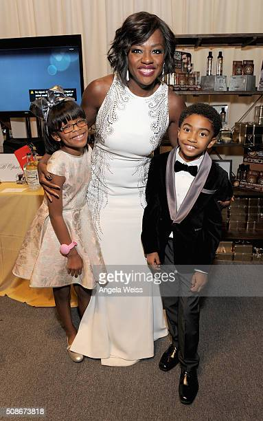 Actors Marsai Martin Viola Davis and Miles Brown attend the Backstage Creations Celebrity Retreat at The 47th NAACP Image Awards at Pasadena Civic...
