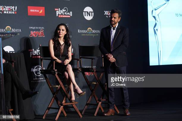 Actors Martha Higareda and Eugenio Derbez attend the 5th Annual Premios PLATINO Of Iberoamerican Cinema Nominations Announcement at Hollywood...