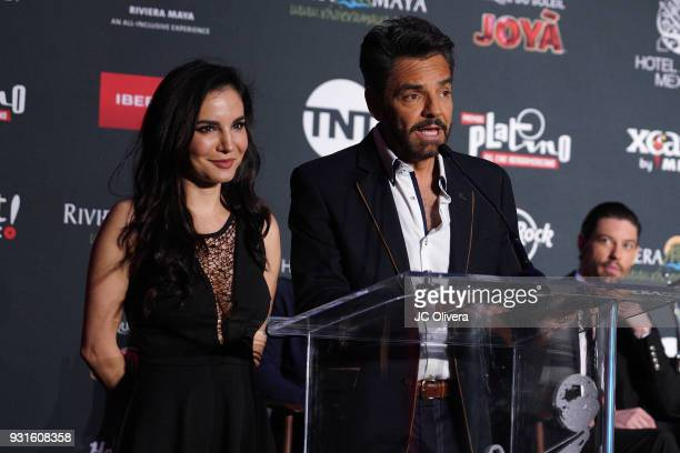 Actors Martha Higareda and Eugenio Derbez speak during the 5th Annual Premios PLATINO Of Iberoamerican Cinema Nominations Announcement at Hollywood...