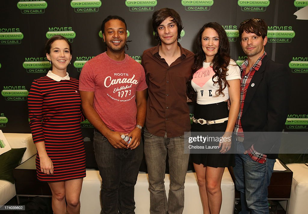 Actors Martha MacIsaac, Brandon Jay McLaren, Devon Bostick, director/actress April Mullen, and writer Tim Doiron attend the 'Dead Before Dawn 3D' at the Movies On Demand Lounge during Comic-Con International 2013 at Hard Rock Hotel San Diego on July 19, 2013 in San Diego, California.