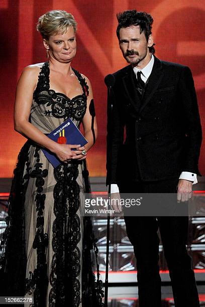 Actors Martha Plimpton and Jeremy Davies speak onstage during the 64th Annual Primetime Emmy Awards at Nokia Theatre LA Live on September 23 2012 in...