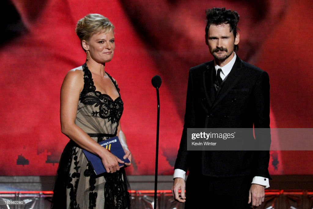 Actors Martha Plimpton and Jeremy Davies speak onstage during the 64th Annual Primetime Emmy Awards at Nokia Theatre L.A. Live on September 23, 2012 in Los Angeles, California.