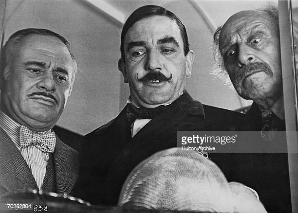 Actors Martin Balsam , Albert Finney , and George Coulouris in a scene from Agatha Christie's 'Murder On The Orient Express', 1974.