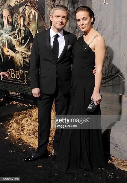 Actors Martin Freeman and Amanda Abbington arrive at the Los Angeles premiere of The Hobbit The Desolation Of Smaug at TCL Chinese Theatre on...