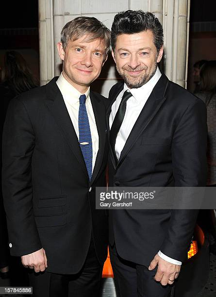 Actors Martin Freeman and Andy Serkis attend 'The Hobbit: An Unexpected Journey' premiere after party at the Guastavino's on December 6, 2012 in New...
