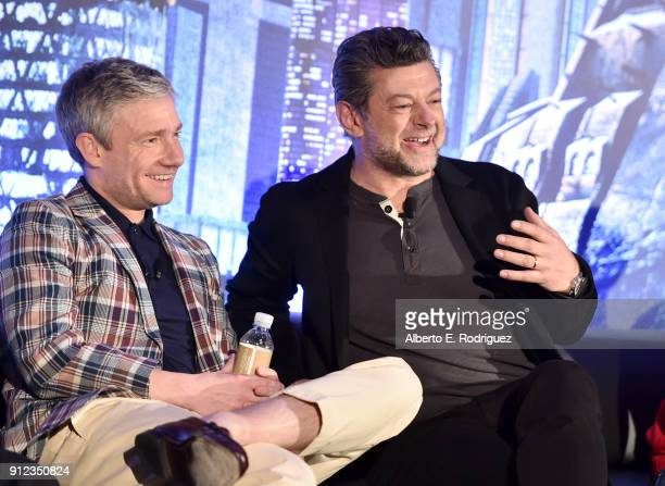 Actors Martin Freeman and Andy Serkis attend the Marvel Studios' BLACK PANTHER Global Junket Press Conference on January 30 2018 at Montage Beverly...