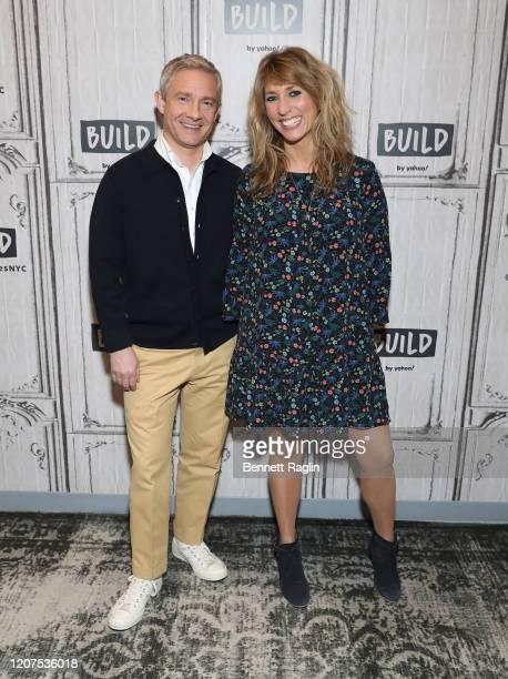 Actors Martin Freeman and Daisy Haggard visit Build at Build Studio on February 20, 2020 in New York City.
