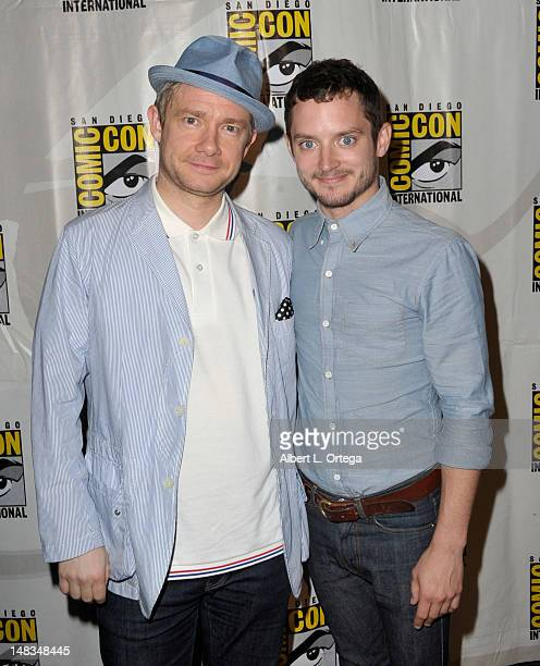 Actors Martin Freeman and Elijah Wood speaks at Warner Bros Pictures and Legendary Pictures Preview of 'The Hobbit An Unexpected Journey' during...