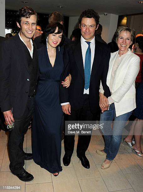 Actors Martin Hutson, Amanda Drew, Dominic West and Penny Downie attend an after party following press night of the new West End production of Simon...
