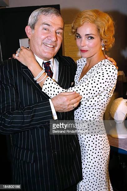 Actors Martin Lamotte and Claire Keim backstage after 'The Guitrys ' performance at the Rive Gauche Theater on October 16 2013 in Paris France