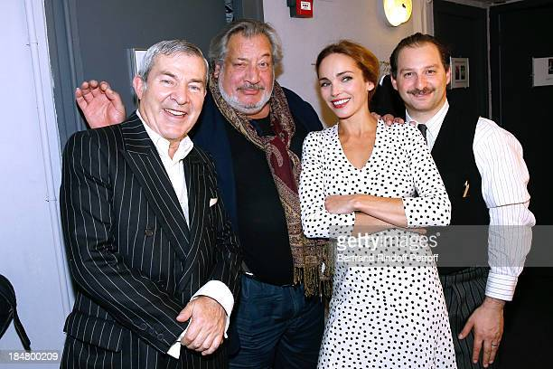 Actors Martin Lamotte JeanClaude Dreyfus Claire Keim and Sylvain Katan backstage after 'The Guitrys ' performance at the Rive Gauche Theater on...
