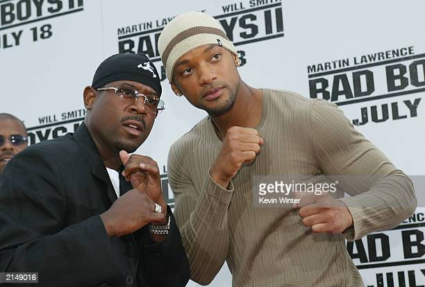 Actors Martin Lawrence and Will Smith attend the Bad Boys II movie premiere at the Mann's Village theatre on July 9 2003 in Westwood California