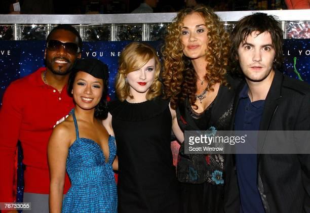 Actors Martin Luther TV Carpio Evan Rachel Wood Dana Fuchs and Jim Sturgess attend a special screening of 'Across The Universe' at Chelsea West...