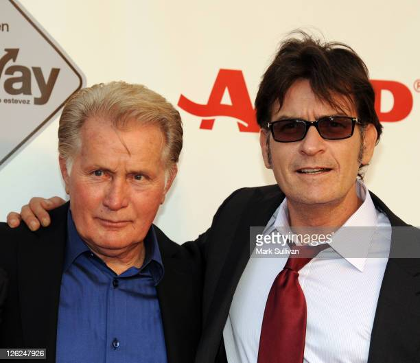 """Actors Martin Sheen and Charlie Sheen attend AARP's Movies For Grown Ups Film Festival screening of """"The Way"""" at Nokia Theatre L.A. Live on September..."""
