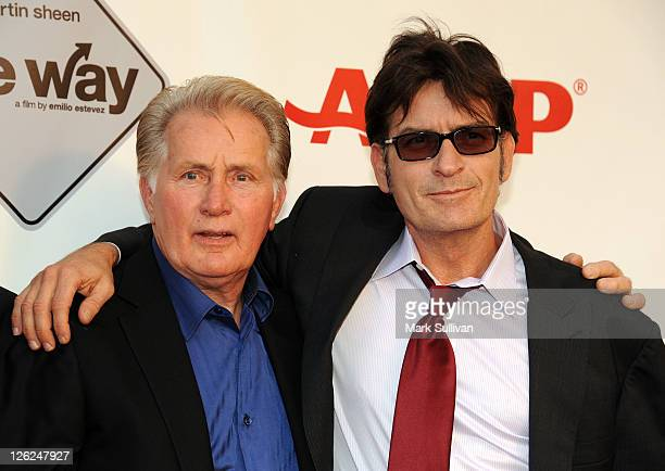 Actors Martin Sheen and Charlie Sheen attend AARP's Movies For Grown Ups Film Festival screening of 'The Way' at Nokia Theatre LA Live on September...