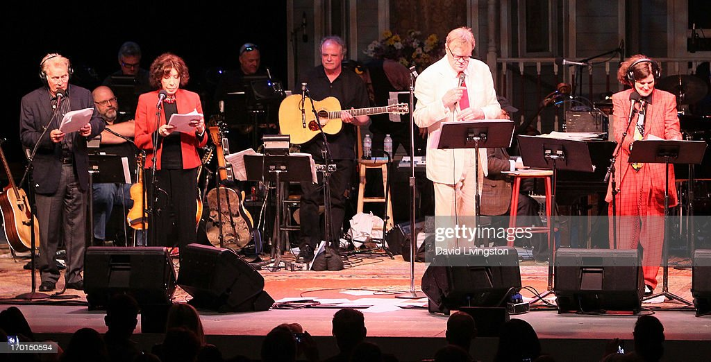 Actors Martin Sheen and Lily Tomlin, radio personality Garrison Keillor and comedian Paula Poundstone perform on stage during A Prairie Home Companion taping at the Greek Theatre on June 7, 2013 in Los Angeles, California.