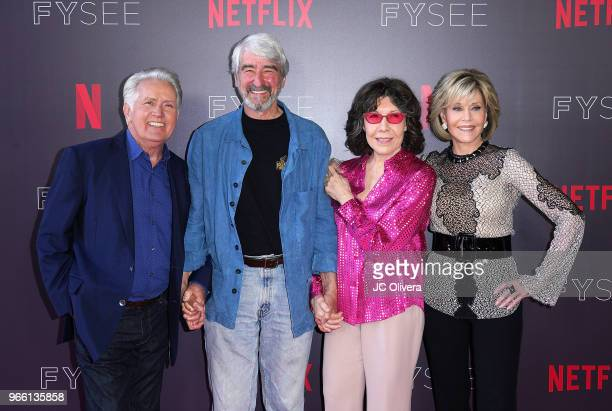 Actors Martin Sheen Sam Waterson Lily Tomlin and Jane Fonda attend #NETFLIXFYSEE Event For 'Grace and Frankie' at Netflix FYSEE at Raleigh Studios on...