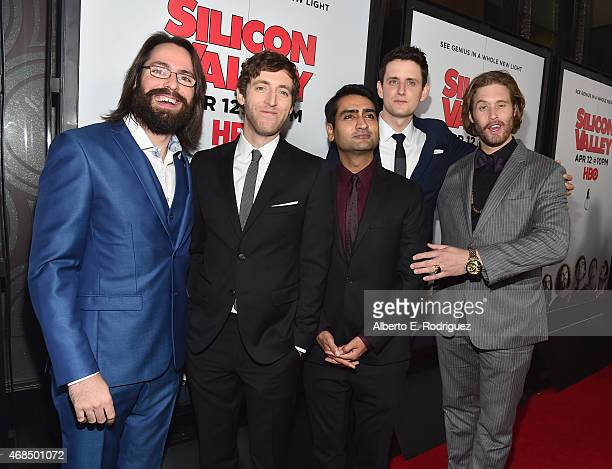Actors Martin Starr Thomas Middleditch Kumail Nanjiani Zach Woods and TJ Miller attend the premiere of HBO's Silicon Valley 2nd Season at the El...