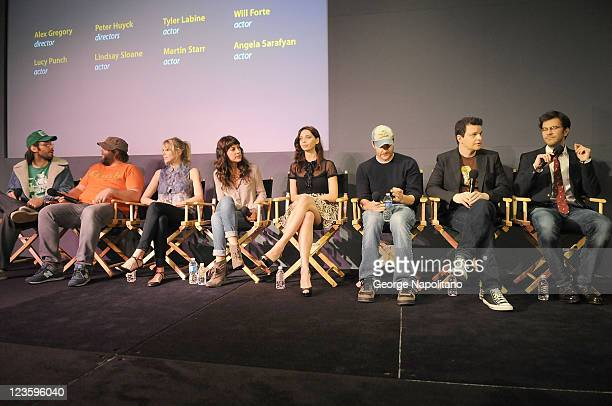 Actors Martin Starr Tyler Labine Lucy Punch Lindsay Sloane Angela Sarafyan Will Forte and directors Alex Gregory and Peter Huyck visit the Apple...