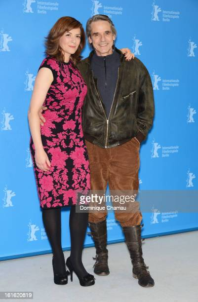 Actors Martina Gedeck and Jeremy Irons attend the 'Night Train to Lisbon' Photocall during the 63rd Berlinale International Film Festival at the...