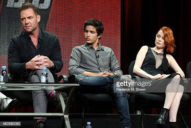 Actors Marton Csokas Aramis Knight and Emily Beecham speak onstage during the 'Into the Badlands' panel discussion at the AMC/IFC Networks portion of...