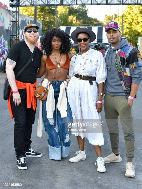Actors Marvin 'Krondon' Jones III Nafessa Williams Christine Adams and Jordan Calloway attend 2018 AfroPunk Festival Atlanta Carnival of...